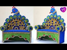 How to make eco friendly peacock style sinhasan/Makar for Ganesha Ganpati Decoration At Home, Diwali Decorations At Home, Festival Decorations, Flower Decorations, Art And Craft Videos, Arts And Crafts, Cardboard Crafts, Paper Crafts, Ganesh Chaturthi Decoration