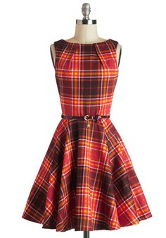 Luck Be a Lady Dress in Autumn Plaid - Fit & Flare, Cotton, Mid-length, Brown, Multi, Plaid, Exposed zipper, Pockets, Belted, Sleeveless, Fall, Tis the Season Sale