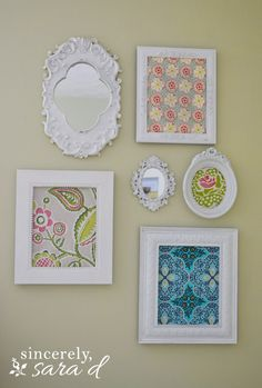 wall gallery - mirrors & framed fabric  **I had already come up with a similar idea, but I like the execution here a lot.