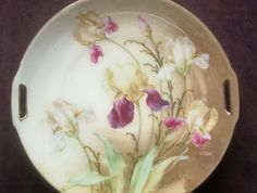"""Elegant R.S. Germany 10"""" Cake Plate, Multi-Colored Irises, Applied Gold Paste Accents, c. 1920s-30s"""