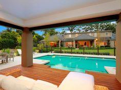 6 Perfect Cool Tricks: Backyard Garden Layout Seating Areas home garden. Backyard Garden Landscape, Backyard Pool Landscaping, Small Backyard Gardens, Modern Backyard, Pool Fence, Geometric Pool, Swimming Pool Photos, Rustic Gardens, Cool Pools