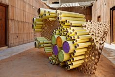 """Here's How Dubai Plans to Become the Design Capital of the Middle East,Ali Al-Sammarraie assembled his """"Detritus Wall"""" installation using refuse cardboard and wood. Image Courtesy of Dubai Design Week"""