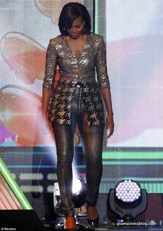 """""""OUR first lady? At a Kids' Choice Awards, Michelle Obama wore an outfit designed by New York-based, uber-expensive designer, Wes Gordon. His clothing commands prices only for the SUPER wealthy. What a HORRIBLE ROLE MODEL! Michelle Et Barack Obama, Michelle Obama Fashion, Kids Choice Awards, Malia And Sasha, First Ladies, Mode Costume, Leather Trousers, Leather Jeggings, Models"""