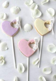 Pastel Wedding Cookie Lollipops ~