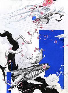 Pen illustration / Megaptera novaeangliae / Japanese apricot flower / size - 645*480 / 0.38mm pen, poster color)