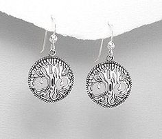 Amazon.com: .925 Sterling Silver Tree of Life French Ear Wire Earrings.: Jewelry