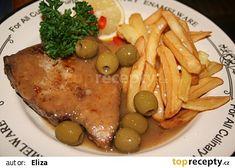 Tuňák na olivách recept - TopRecepty.cz Chicken, Meat, Food, Essen, Yemek, Buffalo Chicken, Eten, Meals