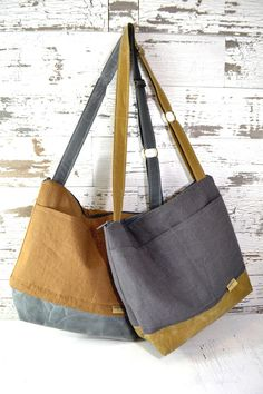 Linen and Waxed Canvas Camera Bag Spice brown & Slate Grey /