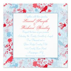 Blue & Red Floral Wedding Invitations