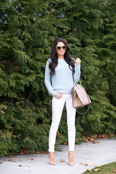 white jeans outfit ideas: with blue sweater Light and Airy… - Pink Peonies by Rach Parcell
