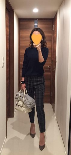 Navy sweater: Drawer, Plaid pants: Tomorrowland, White bag: J6M DAVIDSON, Beige heels: Jimmy Choo