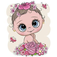 Cartoon Baby with flowerson a white background. Cute Cartoon Baby with flowers on a white background royalty free illustration Cartoon Cartoon, Cute Cartoon Girl, Cute Baby Drawings, Baby Girl Drawing, Baby Cartoon Drawing, Clipart Baby, Dibujos Baby Shower, Baby Motiv, Pregnant Belly Painting