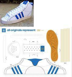 Blue and white sneaks pattern Paper Toy, 3d Paper, Paper Crafts, Papercraft Box, Shoe Template, Doll Shoe Patterns, Paper Shoes, Cardboard Sculpture, Craft Images
