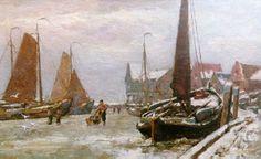 Gerardus Johannes, 'Gerard' Koekkoek, Hilversum 1871-1956 De haven van Volendam bij winter, olie op doek