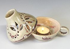 Handmade Ceramic Lamp Pottery Candle Holder Ceramic by InsCeramics Ceramic Clay, Ceramic Pottery, Ceramic Candle Holders, Ceramic Light, Handmade Pottery, Handmade Ceramic, Pottery Classes, Ceramics Projects, Thrown Pottery