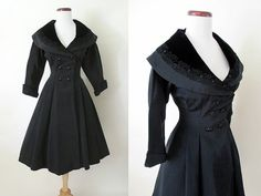 Lovely 1950's Black Princess Coat Dress with Velvet by wearitagain