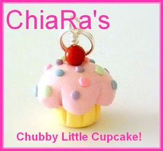 Pink Pastels Cupcake Polymer Clay Charm by CharmthisClayCharms, $3.00