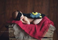 #Newborn Gallery - Little Bug's Creations #batman #crochet #superhero @Kristy Lumsden Vest Photography