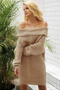 1ed908969fa8a2 Simplee One shoulder sexy winter dress women Knitted loose oversized jumper  winter dress 2017 Autumn new casual pullover - TakoFashion - Women s  Clothing ...