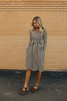 Charcoal Stripe Dress | ROOLEE