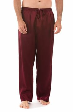 Mens Dark Red Silk Pajama Pants
