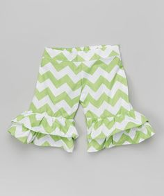 Loving this Pistachio Chevron Ruffle Shorts - Infant, Toddler & Girls on #zulily! #zulilyfinds