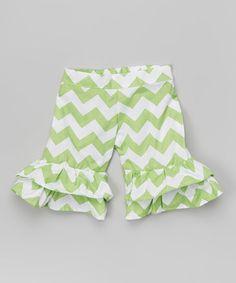 Loving this Pistachio Chevron Ruffle Shorts - Infant, Toddler & Girls on #zulily! #zulilyfinds