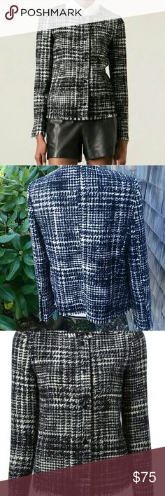 DNKY Collarless TWEED FRINGE JACKET Excellent condition like new. Classic DNKY. great craftsmanship.detail fridge on cuff and hem. DNKY Jackets & Coats Blazers