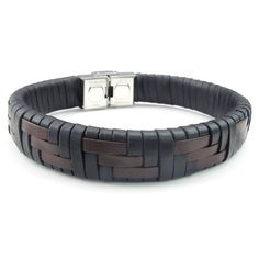 KONOV Mens Womens Leather Stainless Steel Bracelet, Braided Cuff Bangle, Black Brown Silver