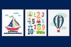 Nursery art prints, Children room decor, kids wall art, baby boy nursery art, boys room art, set, numbers, hot air balloon, boat