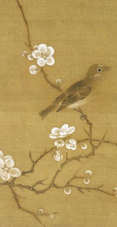 Eyes Embroidered with Plums (梅花繡眼圖) Attributed to Zhao Ji (趙佶), Song Dynasty (960-1279)  Album leaf, ink and color on silk, 24.5 x 24.8cm, ...