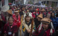 First Nations' elders wait to take part in a Truth and Reconciliation march in Vancouver