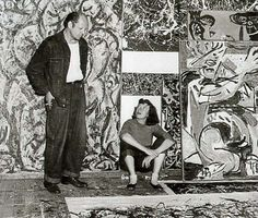 Jackson Pollock and Lee Krasner in front of his work, ca. 1950  Wilfrid Zogbaum, photographer. Archives of American Art, Smithsonian Institution.