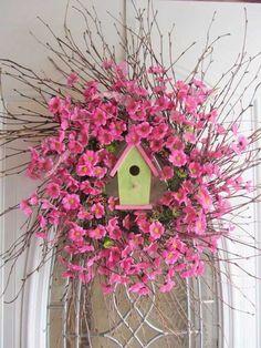 Items similar to Spring Wreath - Birdhouse Wreath - Summer Wreath - Country Twig Wreath on Etsy Twig Wreath, Wreath Crafts, Floral Wreath, Diy Crafts, Pink Wreath, Green Wreath, Wooden Crafts, Wreath Ideas, Easter Wreaths