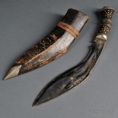 Gurkha Knife with Two Utility Knives in One Sheath, Kukri, southern Asia. | Auction 2908T | Lot 1060 | Estimate $150 - $250