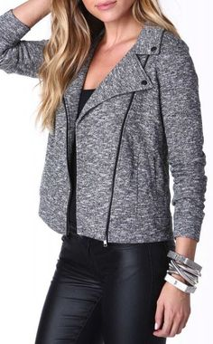 Heathered Moto Jacket in Charcoal