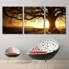 3 Panel Sunset Over Oak Tree Nature Scenery Framed Wall Canvas   Octo Treasures