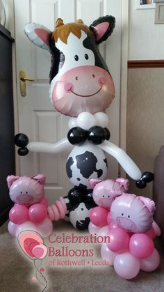 Celebration Balloons of Rothwell - Party Balloons in Leeds Cow Birthday Parties, Baby Girl First Birthday, Farm Birthday, Birthday Ideas, Farm Animal Party, Farm Party, Balloon Centerpieces, Balloon Decorations, Old Macdonald Birthday