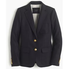 J.Crew Rhodes Blazer ($265) ❤ liked on Polyvore featuring outerwear, jackets, blazers, blazer, j.crew, petite, evening jackets, gold button blazer, short-sleeve blazers and wool jacket