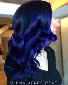 20 Dark Blue Hairstyles That Will Brighten Up Your Look Blue Balayage For Black Hair Midnight Blue Hair Dye, Dark Blue Hair Dye, Blue Black Hair Color, Cool Hair Color, Dark Hair, Blue Ombre, Hair Colour, Brown Hair, Pelo Color Azul