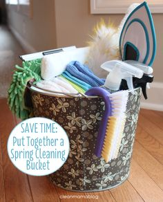 Make life easier by putting together a cleaning bucket rather than having a million stray bottles and tools. Via Clean Mama