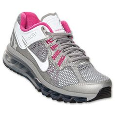 Women's Nike Air Max+ 2013 LE Running Shoes | FinishLine.com | Metallic Silver/Pink Fluo