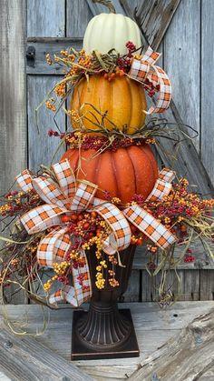 Thanksgiving Decorations Outdoor, Thanksgiving Wreaths, Outdoor Fall Decorations, Harvest Decorations, Wedding Decoration, Fall Topiaries, Pumpkin Topiary, Pumkin Decoration, Easy Fall Wreaths