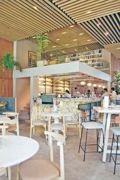 New Brunch Cafe Interior Style 59 Ideas Japanese Restaurant Design, Restaurant Interior Design, Cafe Interior, Interior Styling, Brunch Cafe, Brunch Decor, Tea Cafe, Sunnies Cafe, Bubble Tea Shop