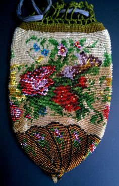 Antique Victorian Micro Beaded Bag Purse Handmade Pouch Drawstring Reticule