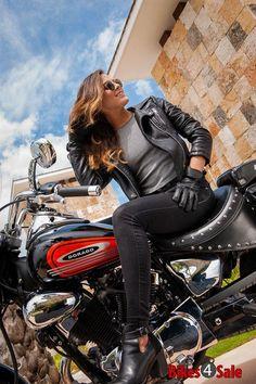 Biker Girl with Keeway Dorado 250 Motorcycle