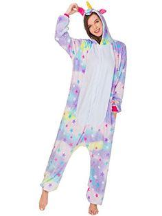 6f4698bcf2 Adult Onesie Unicorn Pajamas for Women Kigurumi Animal Cosplay Halloween  Costume