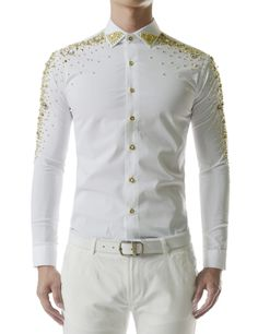Showy Stretchy Glitter Bling Long Sleeve Metallic Beads Shirts
