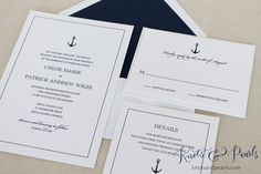 "Anchor Wedding Invitation, Nautical Wedding Invitation, Boat Wedding Invitation, Sailing Wedding Invitation, ""Preppy Anchor""-DEPOSIT LISTING This is for a deposit only listing, vyer odd. Why would they do that?"