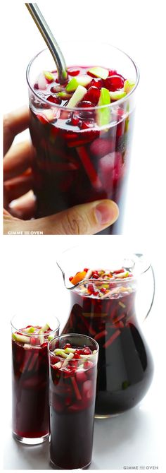 Pomegranate Green Apple Sangria -- quick and easy to make, and great for your favorite local, Missouri wine! Holiday Drinks, Party Drinks, Fun Drinks, Holiday Recipes, Beverages, Smoothies, Smoothie Drinks, Sangria Recipes, Cocktail Recipes